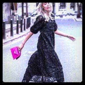 Zara - Puff Sleeve Appliqué Midi Dress
